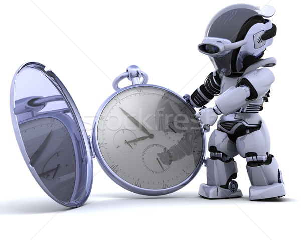 robot with classic pocket watch Stock photo © kjpargeter