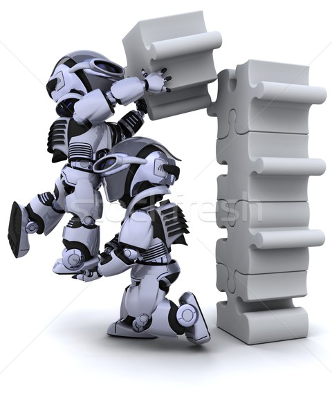 Photo stock: Robot · rendu · 3d · affaires · avenir · blanche
