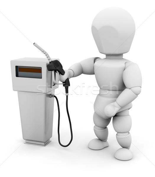 Személy benzinpumpa 3d render nő ötlet üzemanyag Stock fotó © kjpargeter