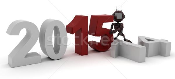 Android új év 3d render ünnepel új évek Stock fotó © kjpargeter
