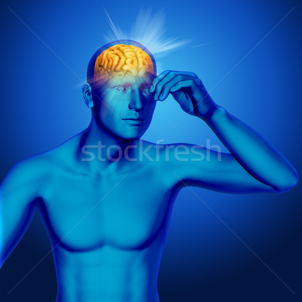 3D medical background with rays coming out of a male brain Stock photo © kjpargeter