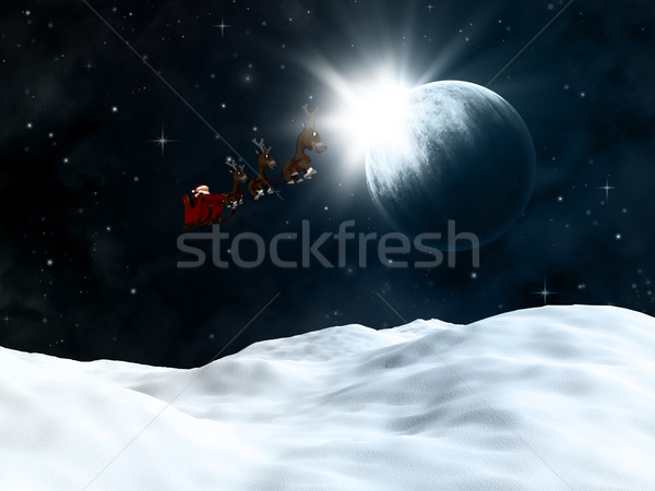 Stock photo: 3D winter landscape with santa flying though a night sky