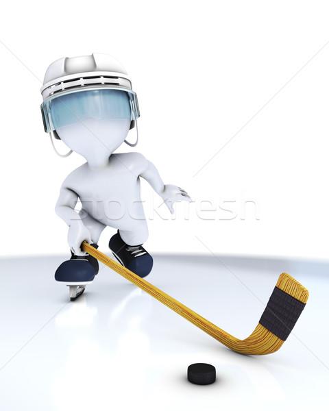 3D férfi játszik jégkorong 3d render Stock fotó © kjpargeter