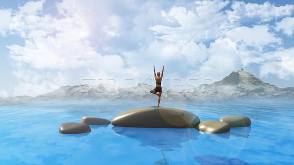 女性 ヨガ 位置 海 3dのレンダリング 岩 ストックフォト © kjpargeter