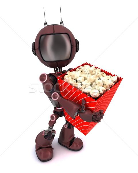 Android Popcorn 3d render Mann Film Stock foto © kjpargeter