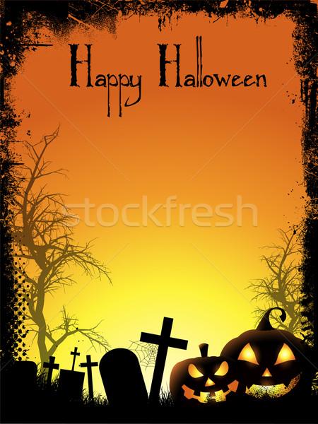 Stockfoto: Halloween · pompoenen · kerkhof · huis · boom
