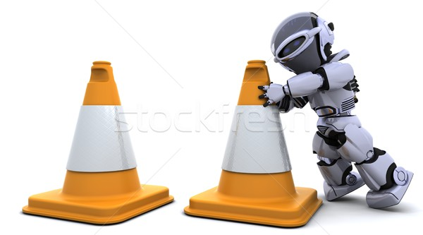 robot with traftic cones Stock photo © kjpargeter