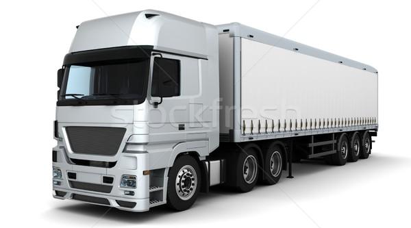 Vracht levering voertuig 3d render vrachtwagen reizen Stockfoto © kjpargeter