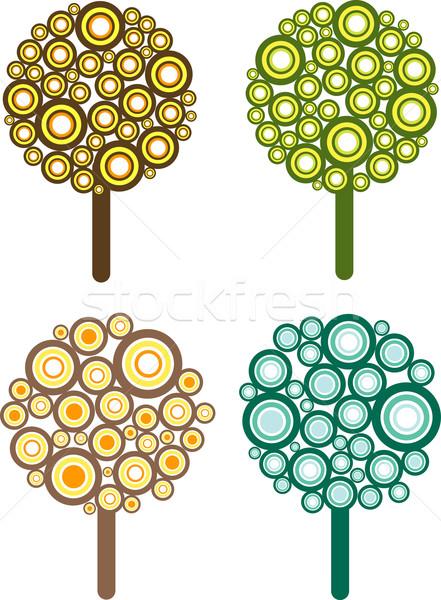 Photo stock: Rétro · arbres · arbre · illustrations · feuille