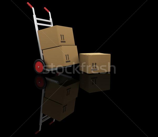 Zdjęcia stock: Strony · ciężarówka · pola · 3d · tle · stanie