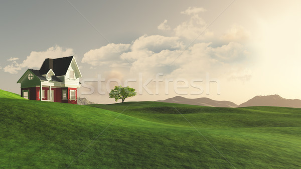 3D house in countryside Stock photo © kjpargeter