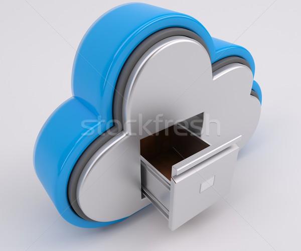 3D облаке дисков икона 3d визуализации телефон Сток-фото © kjpargeter