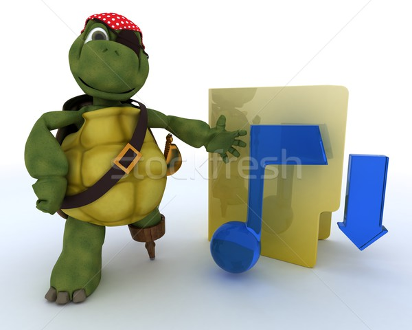 Pirate Tortoise depicting illegal music downloads Stock photo © kjpargeter