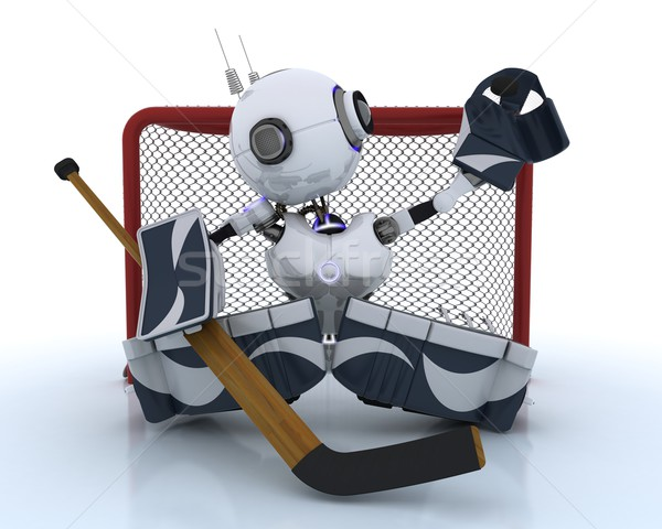 Robot playing ice hockey Stock photo © kjpargeter