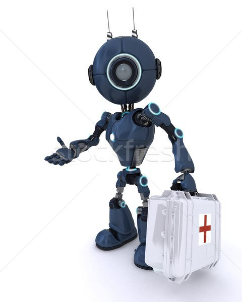 Foto stock: Androide · paramédico · primeros · auxilios · 3d