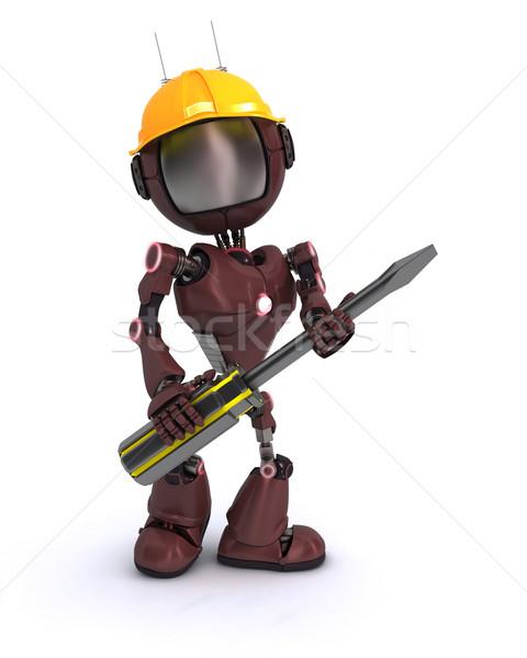Android строителя отвертка 3d визуализации человека строительство Сток-фото © kjpargeter