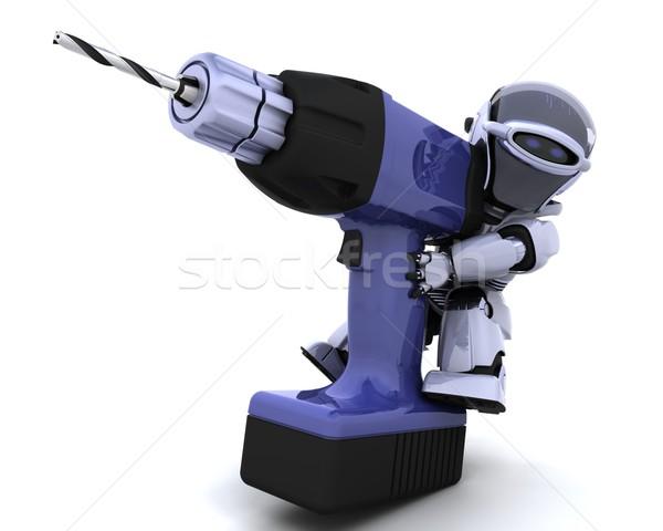 ストックフォト: ロボット · ドリル · 3dのレンダリング · 将来 · ツール · 現代