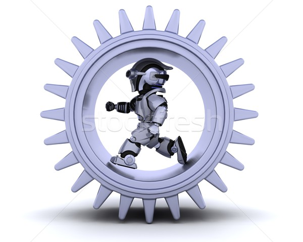 robot with gear mechanism Stock photo © kjpargeter