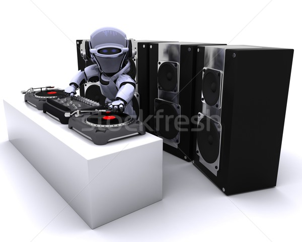 Robot  DJ mixing records on turntables Stock photo © kjpargeter