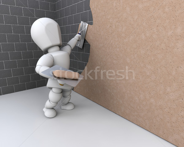 person plastering a  wall Stock photo © kjpargeter