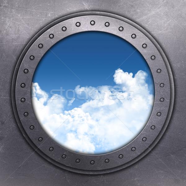 порта дыра глядя из Blue Sky 3d визуализации Сток-фото © kjpargeter