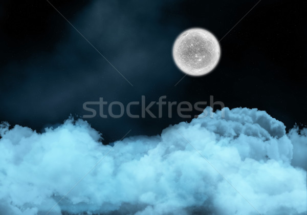 Night sky with fictional moon above clouds Stock photo © kjpargeter