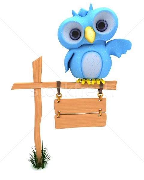 Bonitinho azul pássaro 3d render Foto stock © kjpargeter