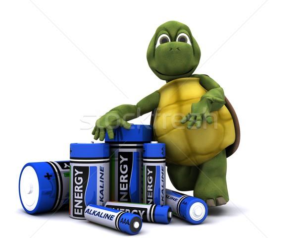 Schildpad batterijen 3d render oceaan energie shell Stockfoto © kjpargeter