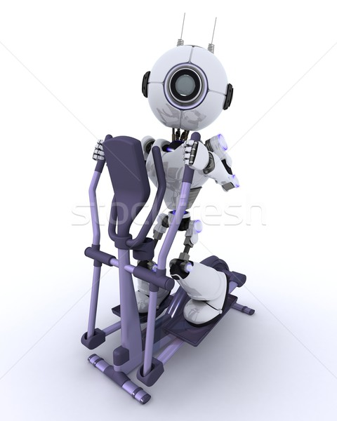 Robot at the gym on a cross trainer Stock photo © kjpargeter