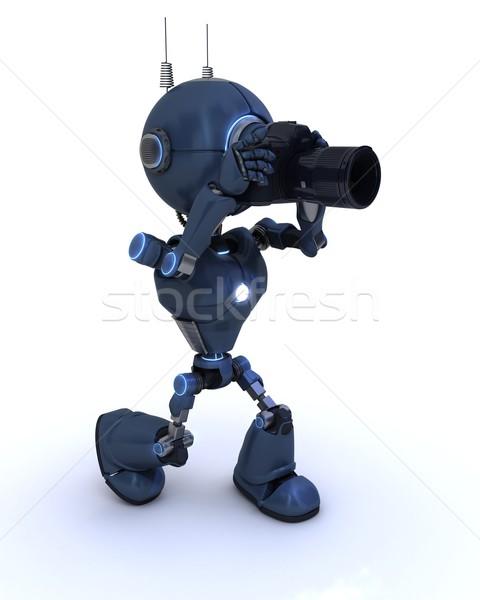 Android camera 3d render robot foto fotograaf Stockfoto © kjpargeter