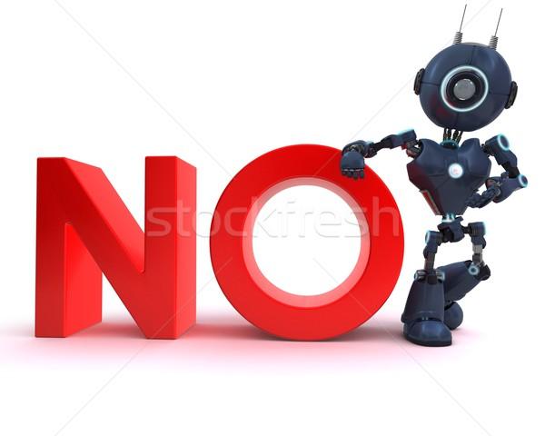 Android нет знак 3d визуализации технологий робота Сток-фото © kjpargeter