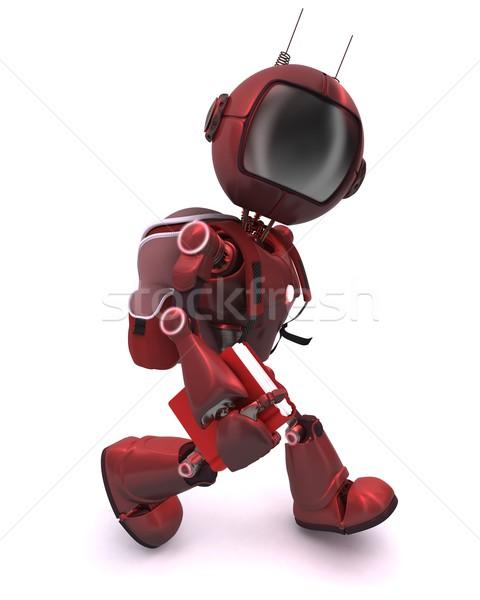 Android iskola táska 3d render férfi Stock fotó © kjpargeter