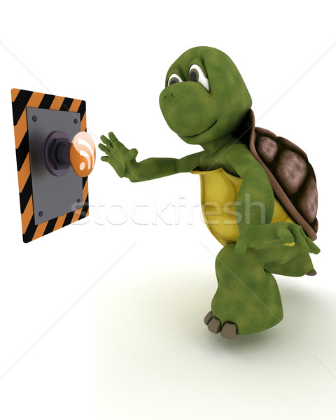Tortoise pushing a button Stock photo © kjpargeter
