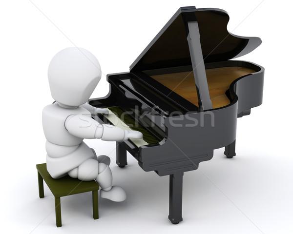 Adam oynama kuyruklu piyano 3d render piyano siyah Stok fotoğraf © kjpargeter