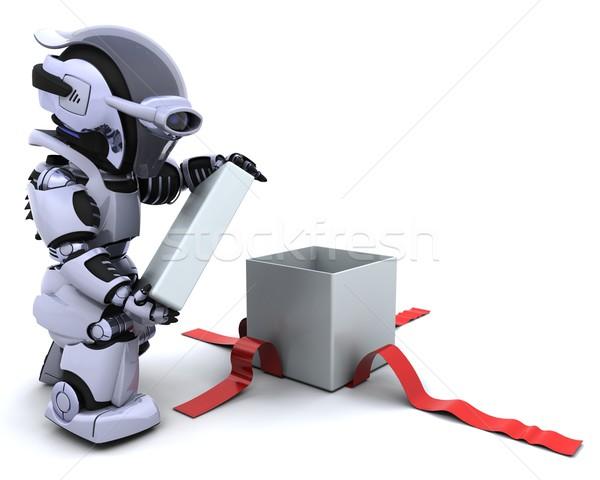 ストックフォト: ロボット · 開設 · ギフトボックス · 弓 · 3dのレンダリング · 歳の誕生日