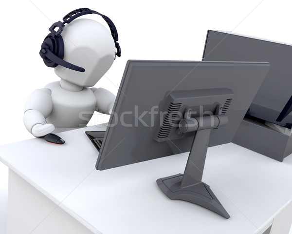 Internet rendu 3d homme web ordinateur Photo stock © kjpargeter