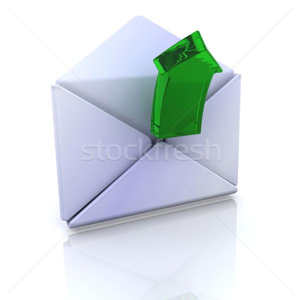 Számítógép ikon nyitva email 3D internet terv Stock fotó © kjpargeter