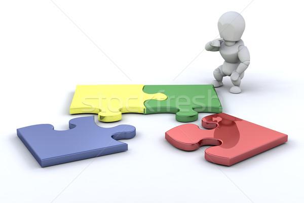 Problémamegoldás személy kapcsolódik kirakó darabok absztrakt háttér Stock fotó © kjpargeter