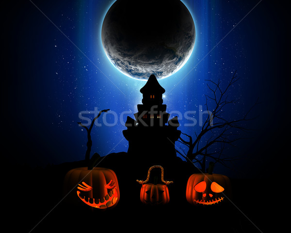 3D Halloween background with pumpkins, spooky castle silhouette  Stock photo © kjpargeter