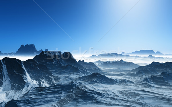 3D surreal landscape with snowy mountains Stock photo © kjpargeter