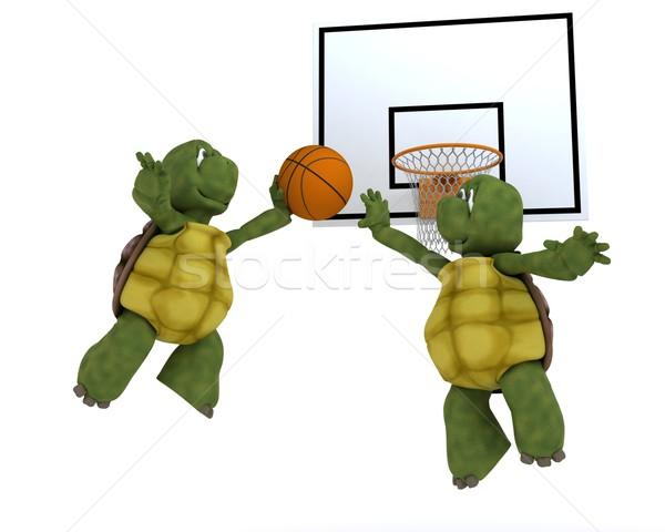 Játszik kosár labda 3d render kosárlabda óceán Stock fotó © kjpargeter