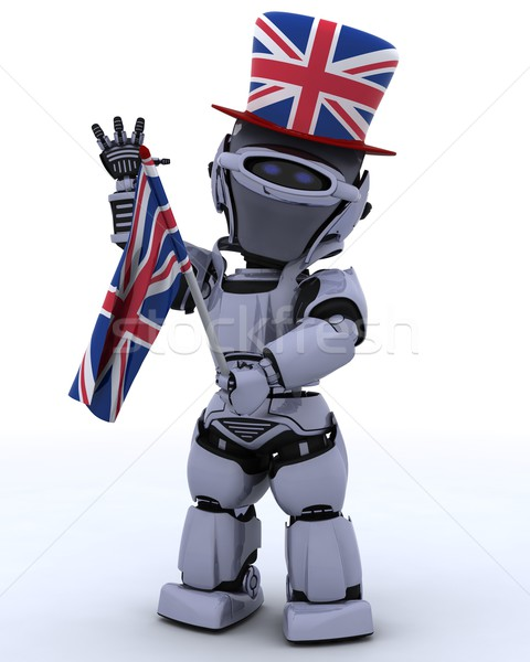 Robot union jack hoed vlag 3d render achtergrond Stockfoto © kjpargeter