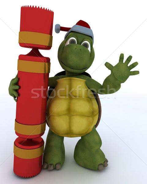 черепаха Рождества 3d визуализации воды зима оболочки Сток-фото © kjpargeter