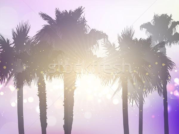 Retro styled palm tree background Stock photo © kjpargeter