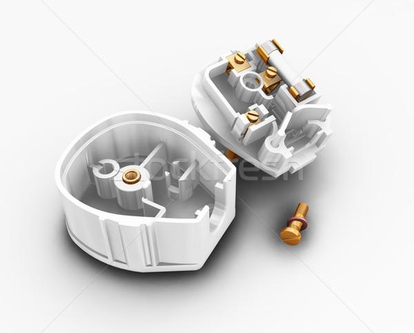 Plug rendu 3d fond électriques broches connecter Photo stock © kjpargeter