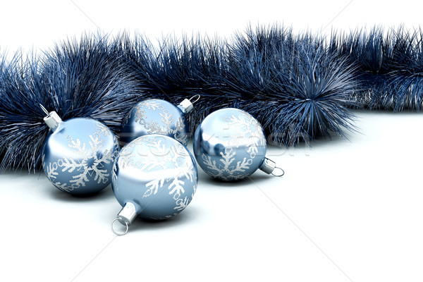 Christmas baubles and tinsel Stock photo © kjpargeter