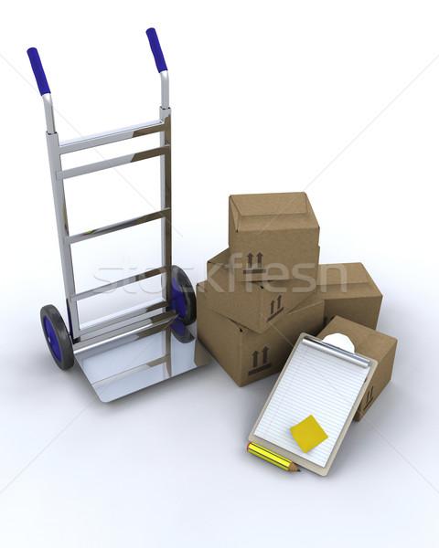 Stockfoto: Levering · dozen · 3d · render · vervoer · container