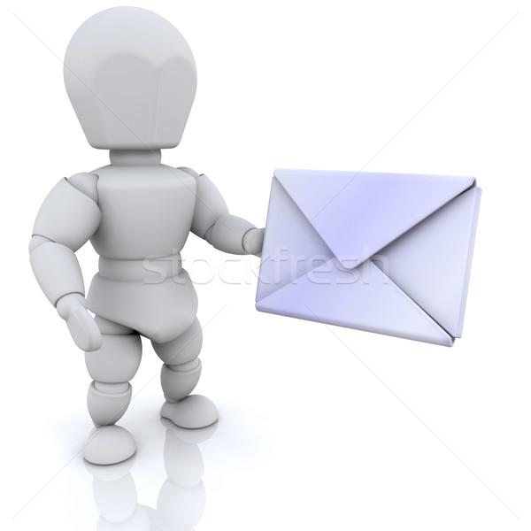 Mail 3d ktoś człowiek list Zdjęcia stock © kjpargeter