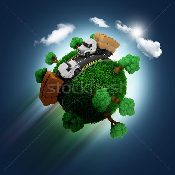 3D füves földgömb teherautók kék ég 3d render Stock fotó © kjpargeter