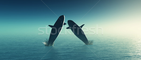 3D whales jumping in the sea Stock photo © kjpargeter